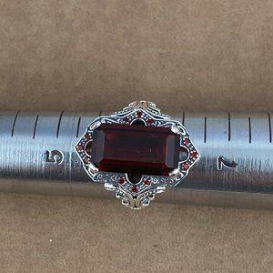 New Fire Garnet 925 Silver Art Deco Ring Size 6